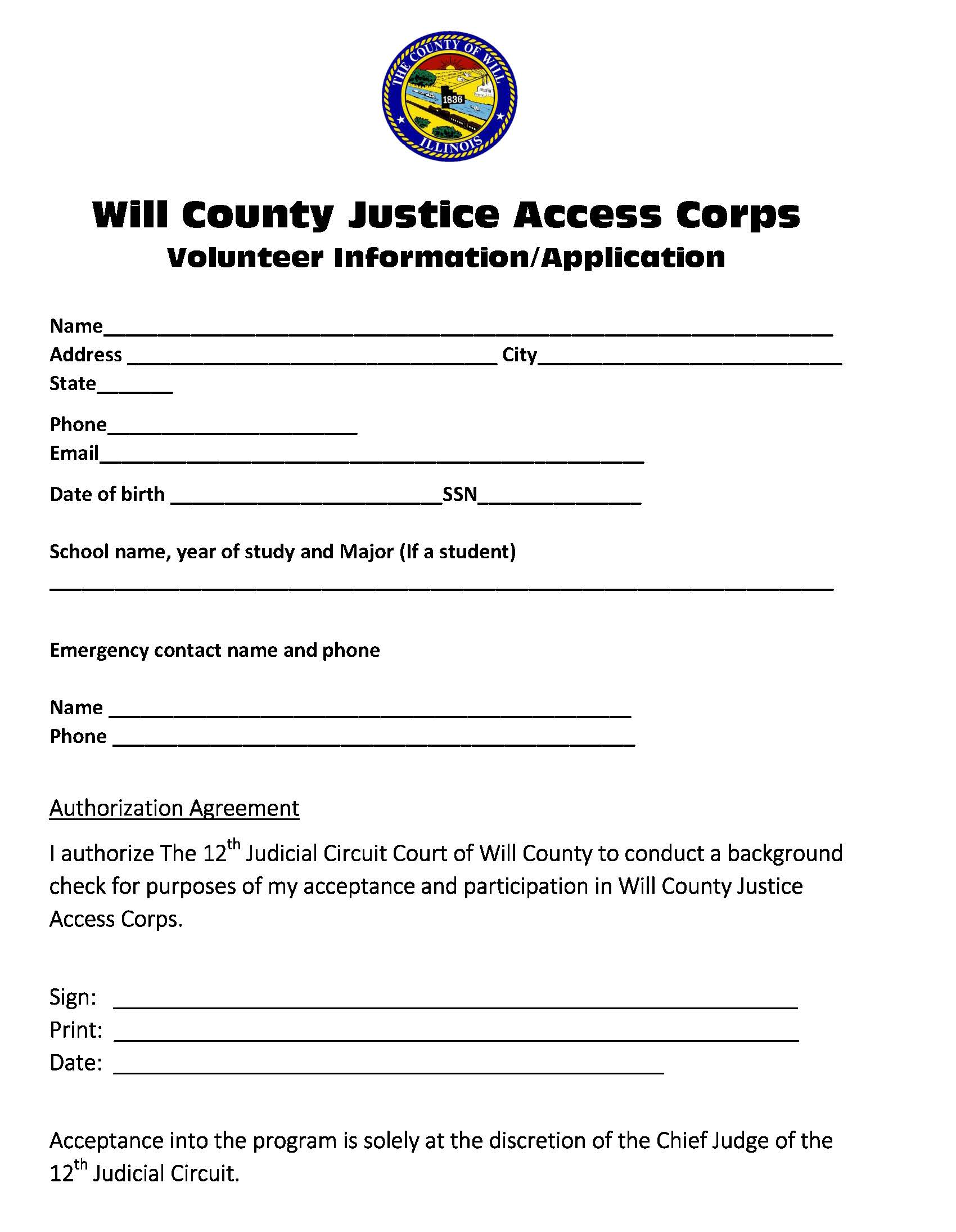 WillCoJAC 2018 Volunteer Application